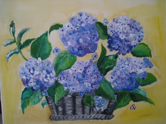 Hortensias bleus  (60x50)